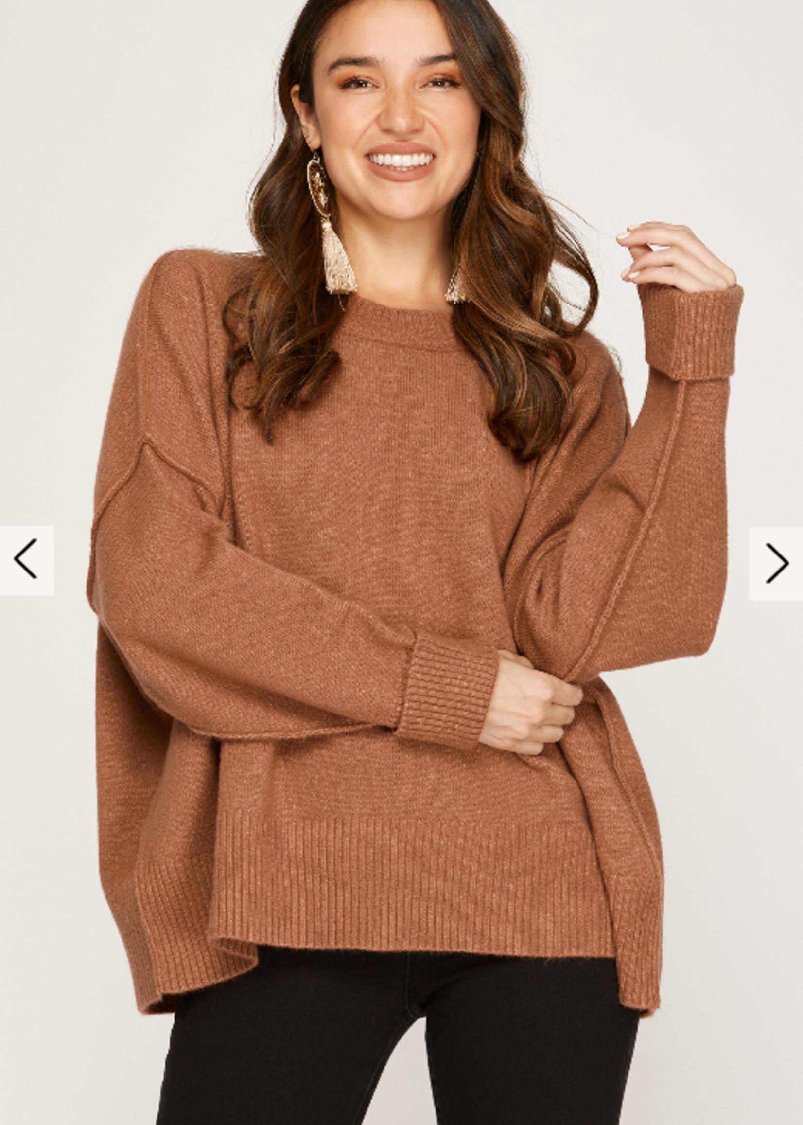 Drop Shoulder Sweater - Cinnamon