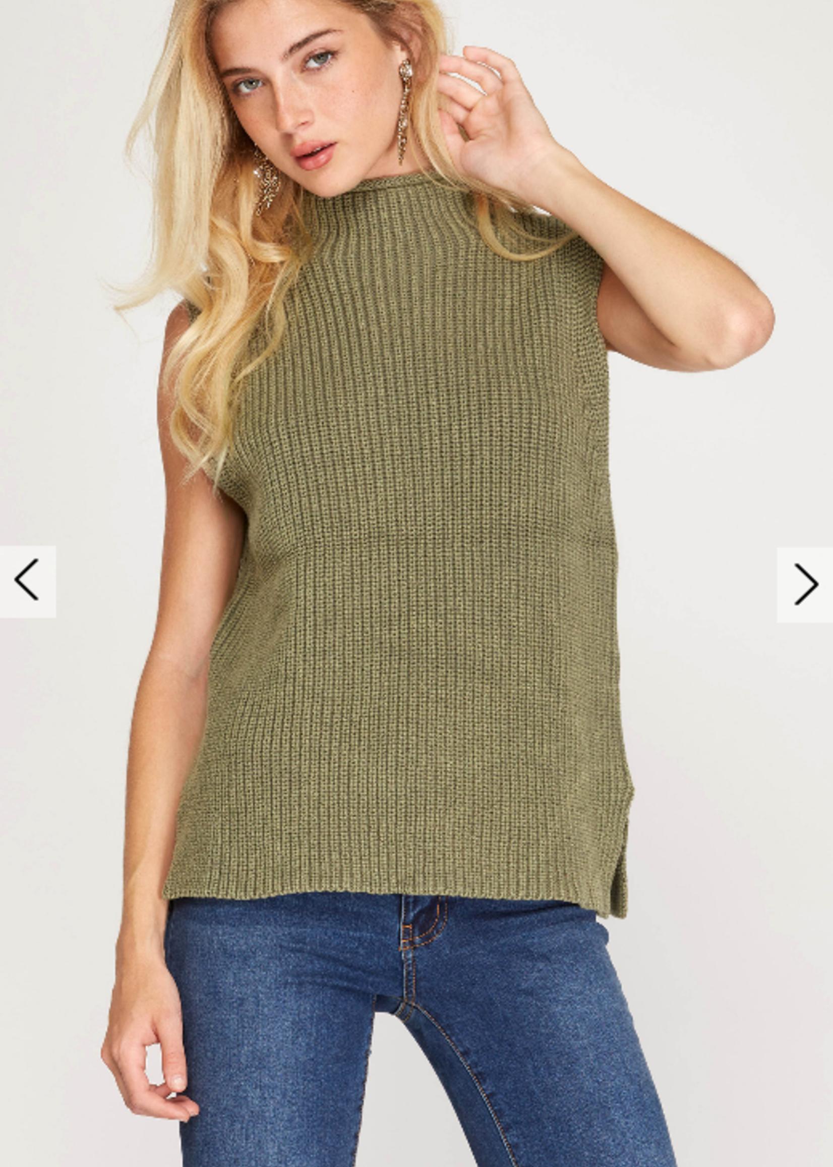 Sleeveless High Neck Washed Knit Sweater - Olive