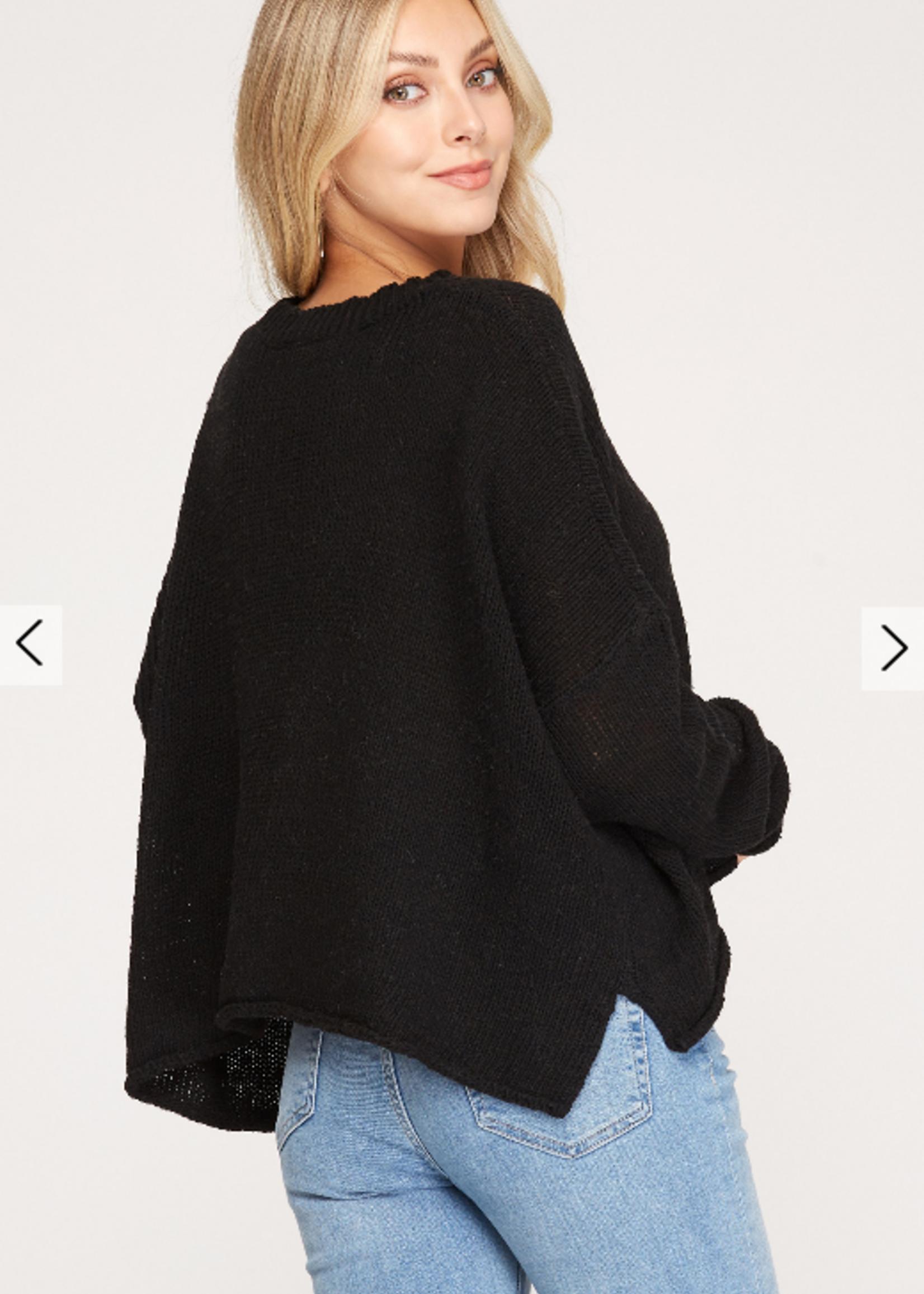 Crop Knit Sweater - Black