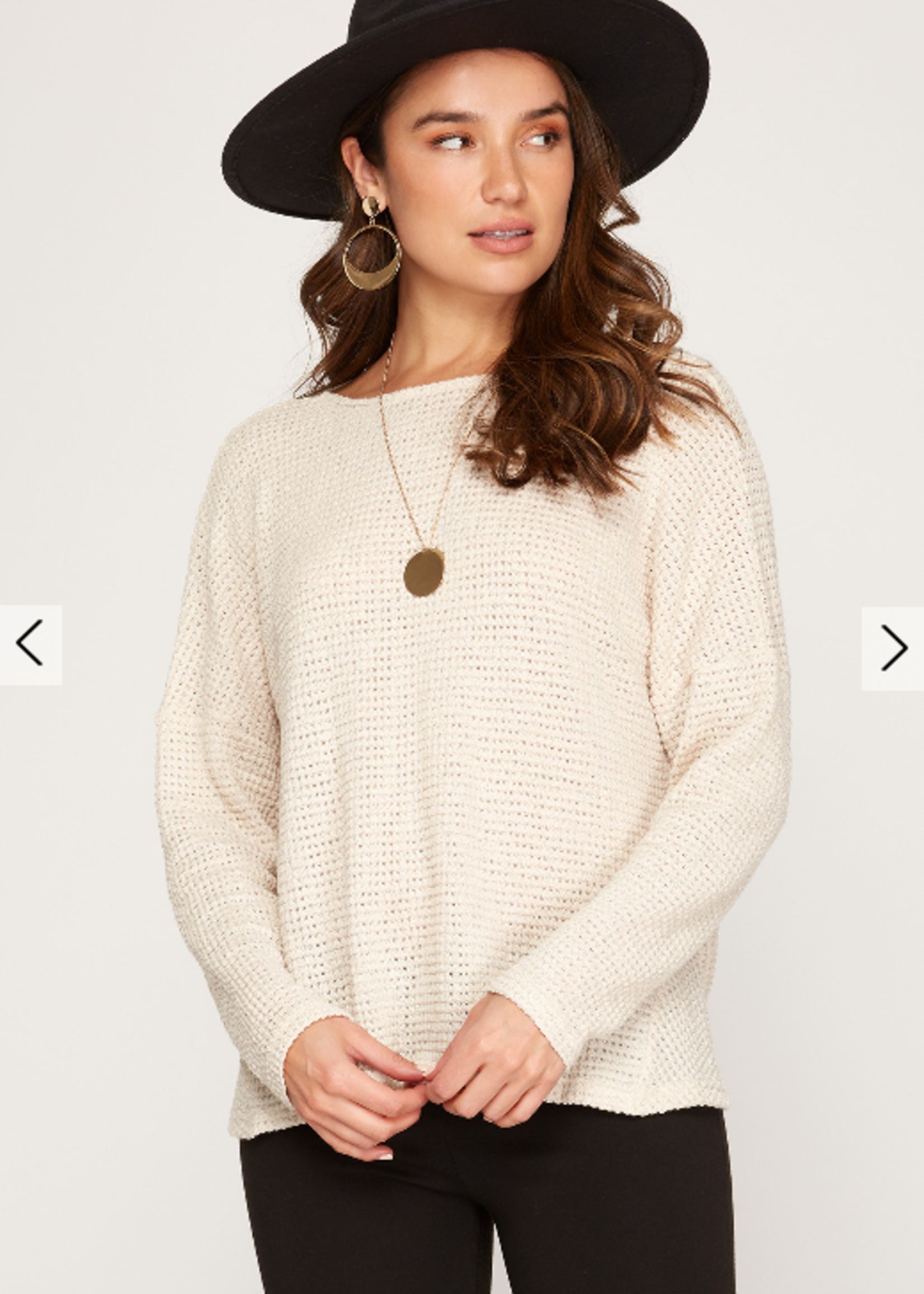 Long Sleeve Open Back Top - Light Taupe