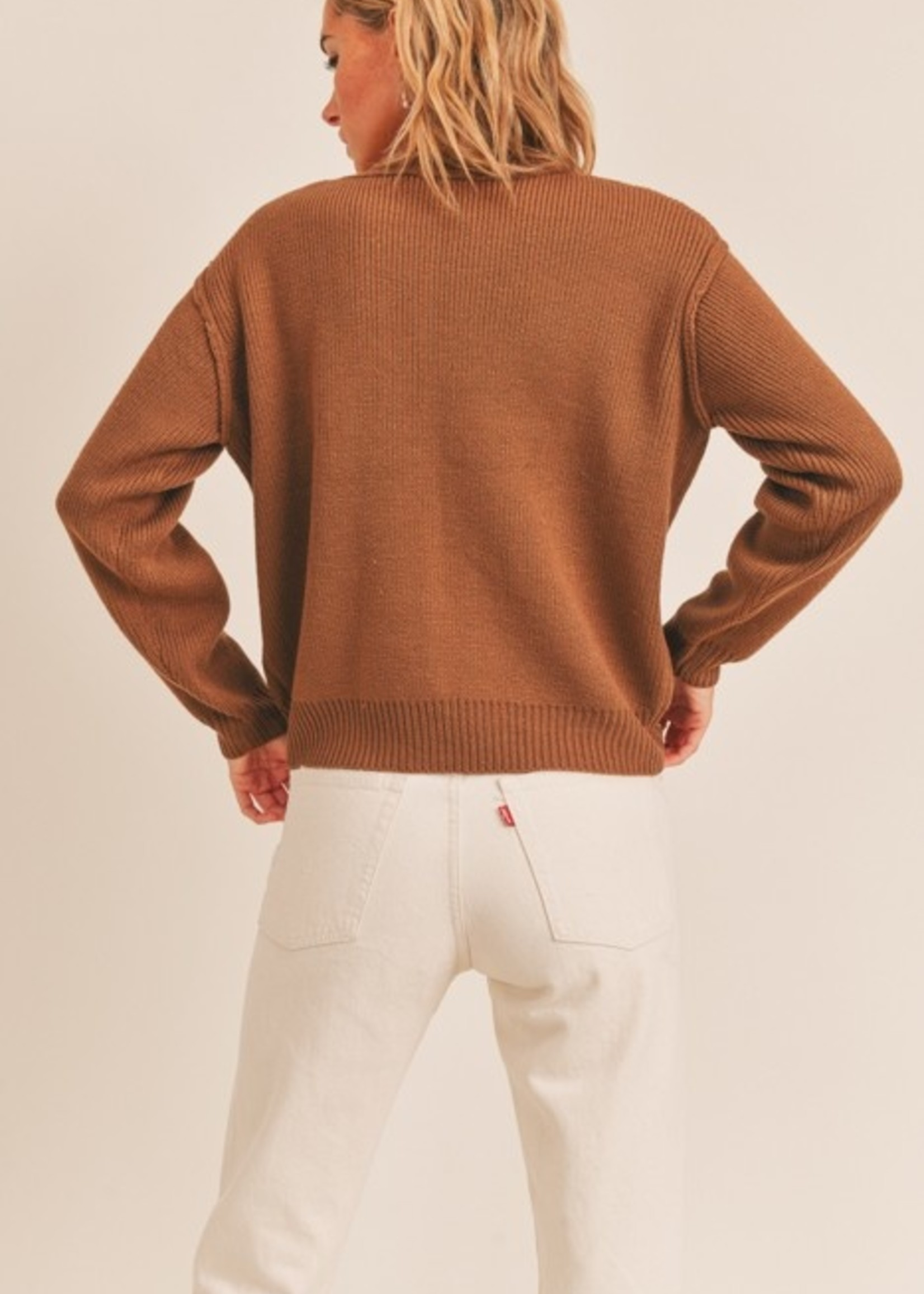 Long Sleeve Sweater with Exposed Seam - Coffee