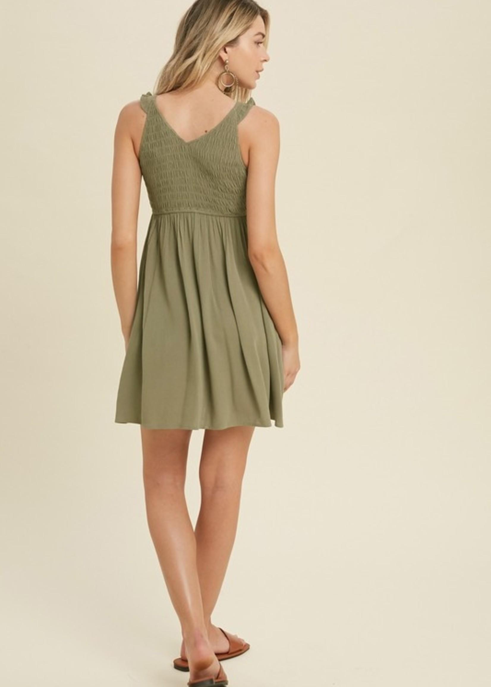 Smocked Top w/Ruffle Strap Dress - Olive