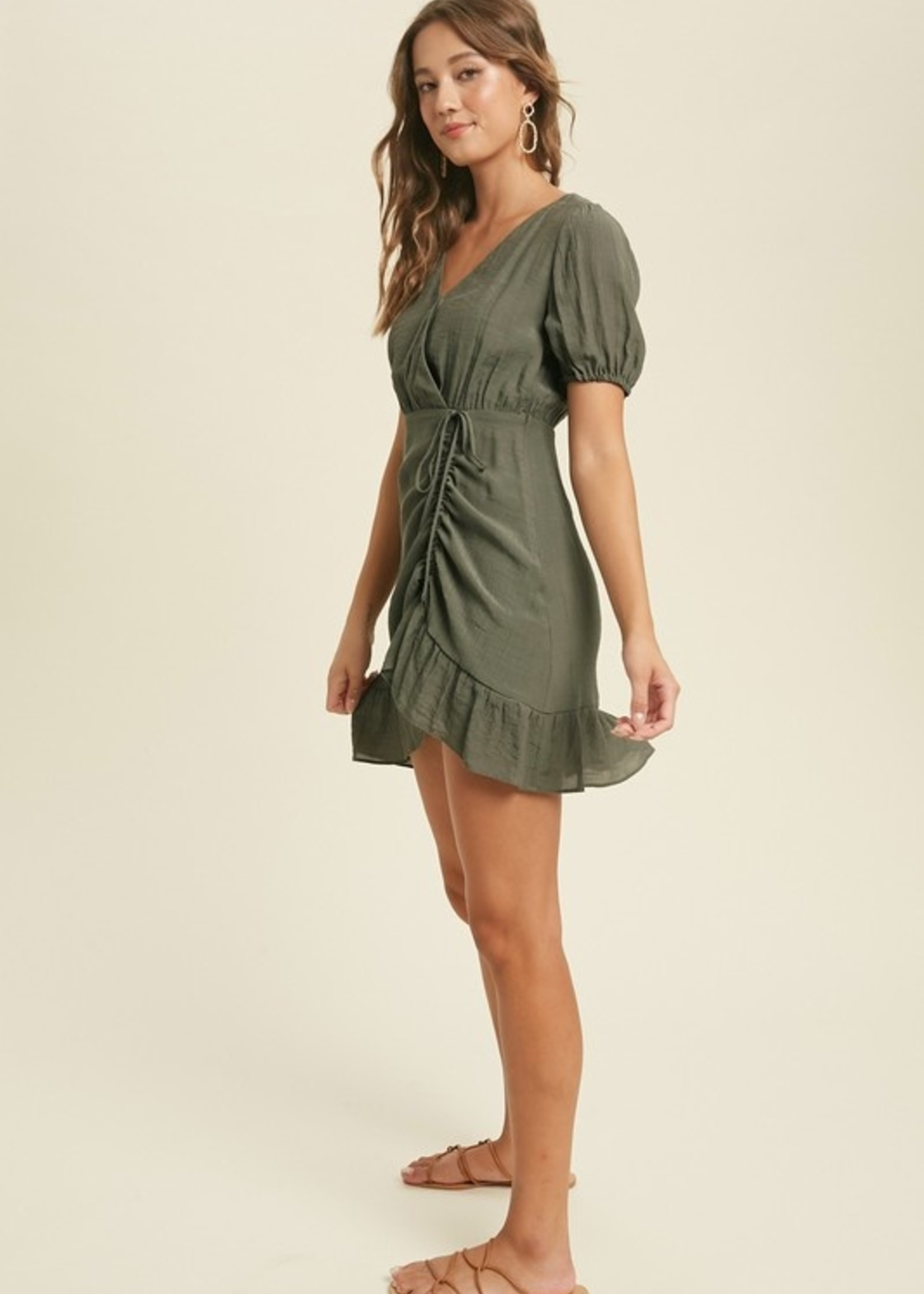 Side Rouched Dress - Olive