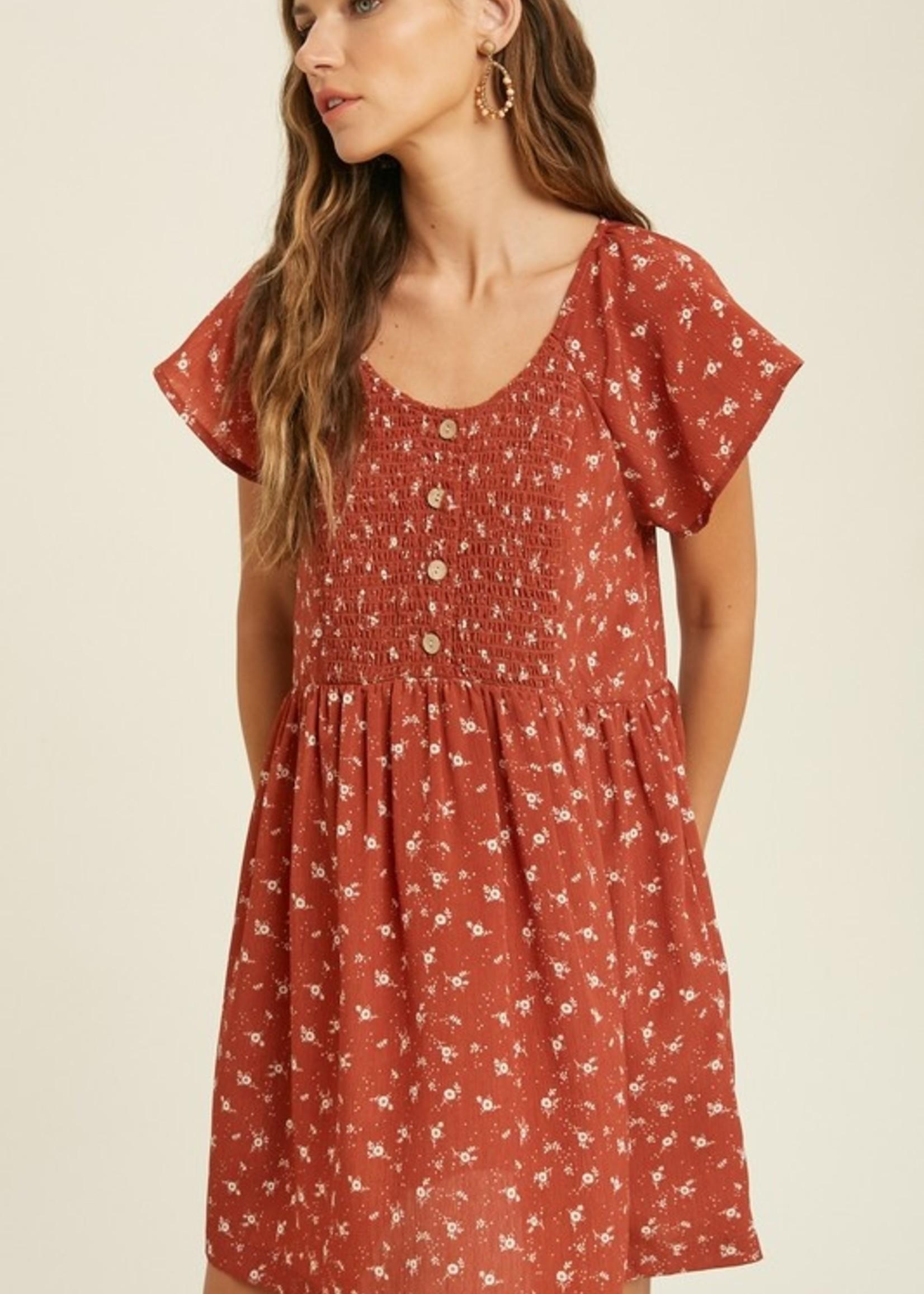 Floral Smocked Dress - Rust