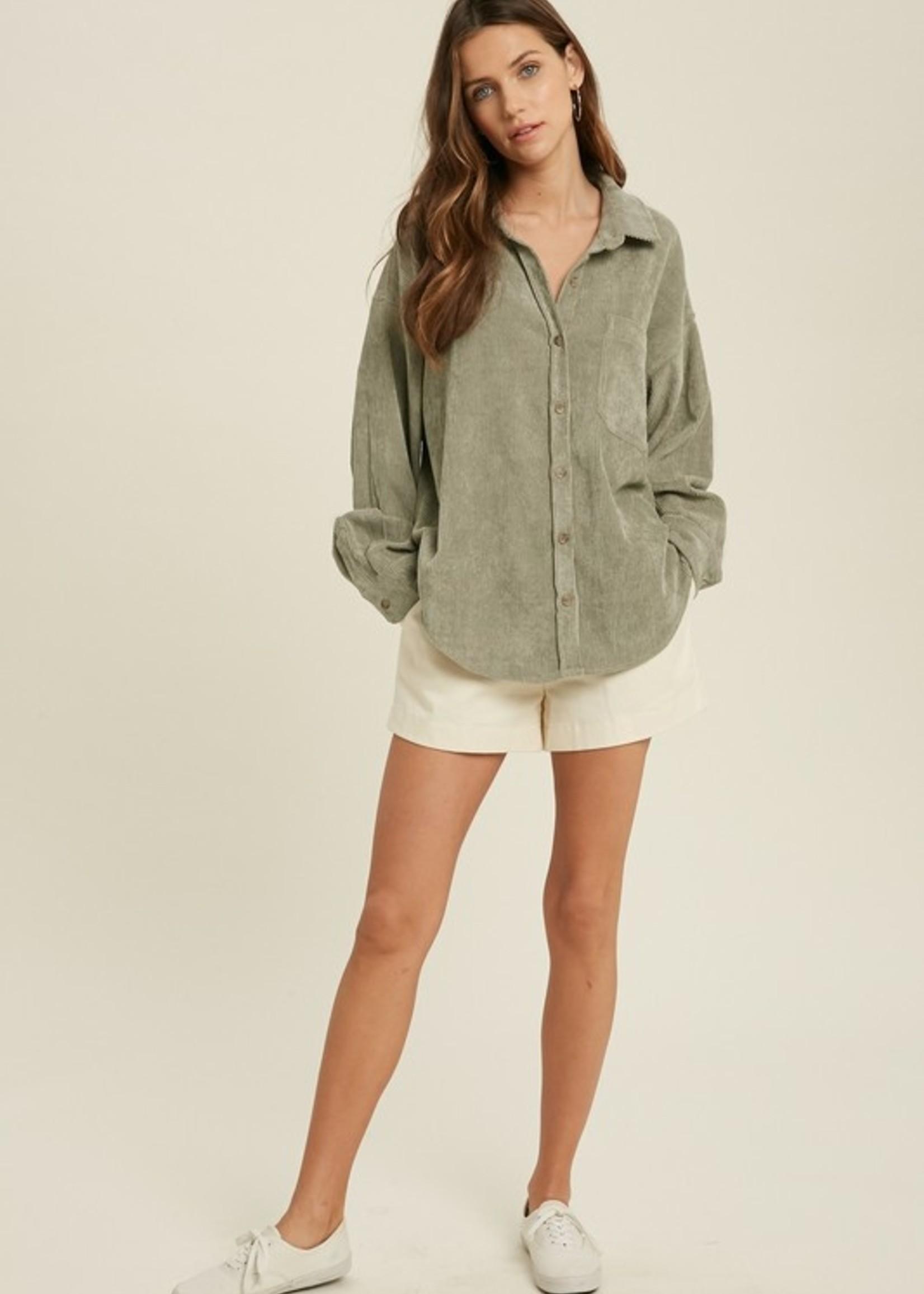 Cord Shirt Jacket - Olive