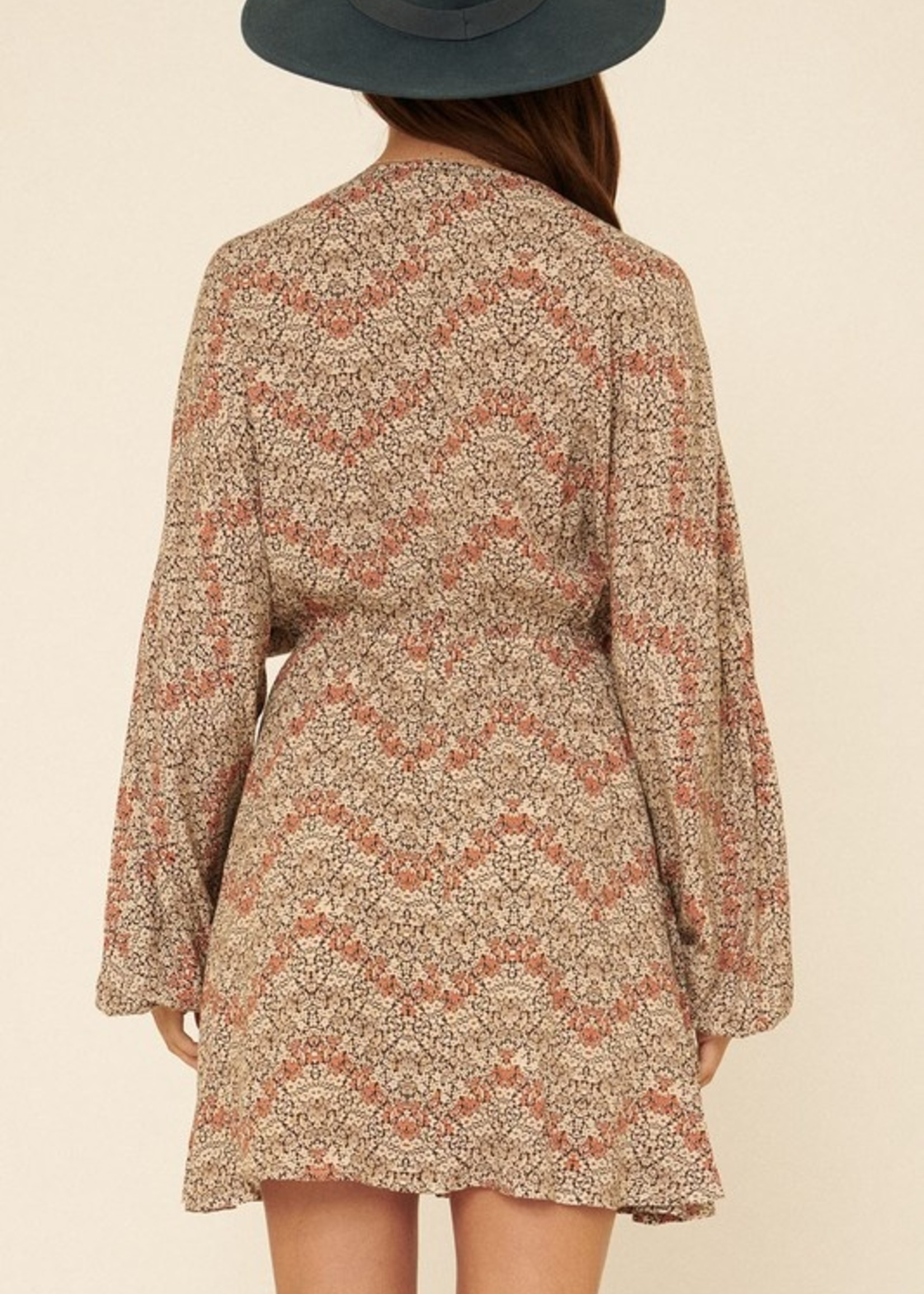 V Neck dress with drawstring - Rust Floral