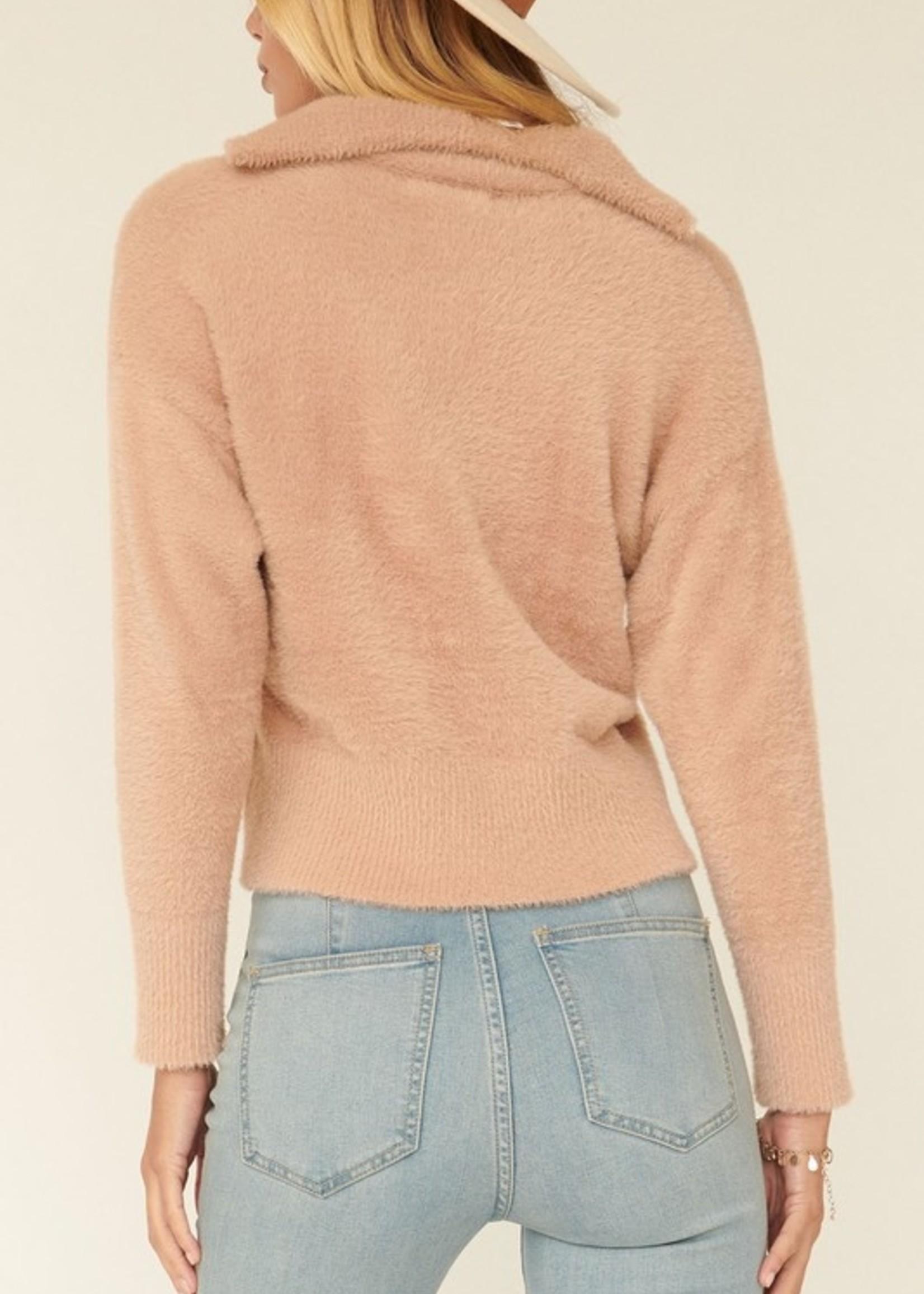 Fuzzy Quarter Zip Sweater - Blush