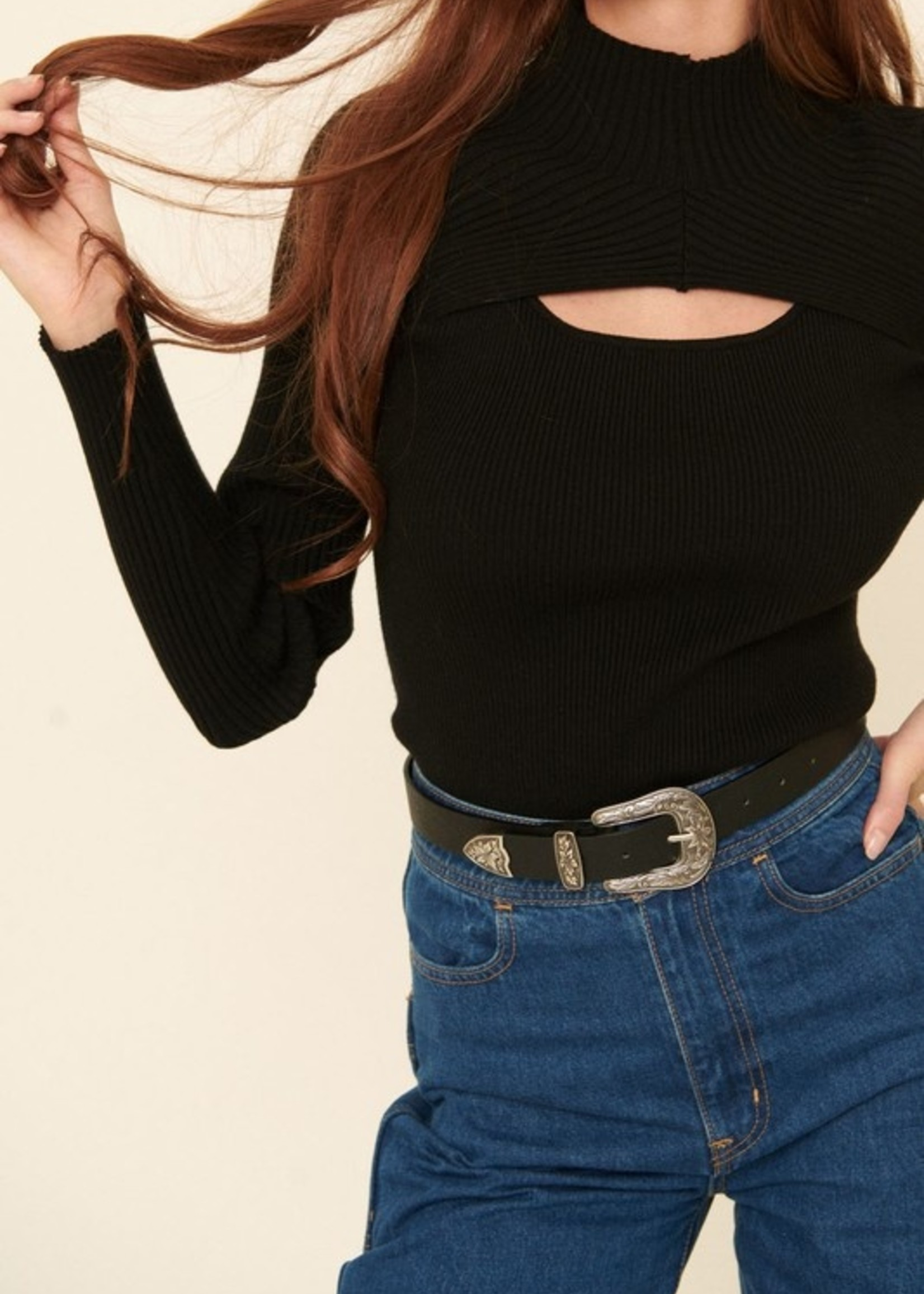 Sweater with Cutout - Black