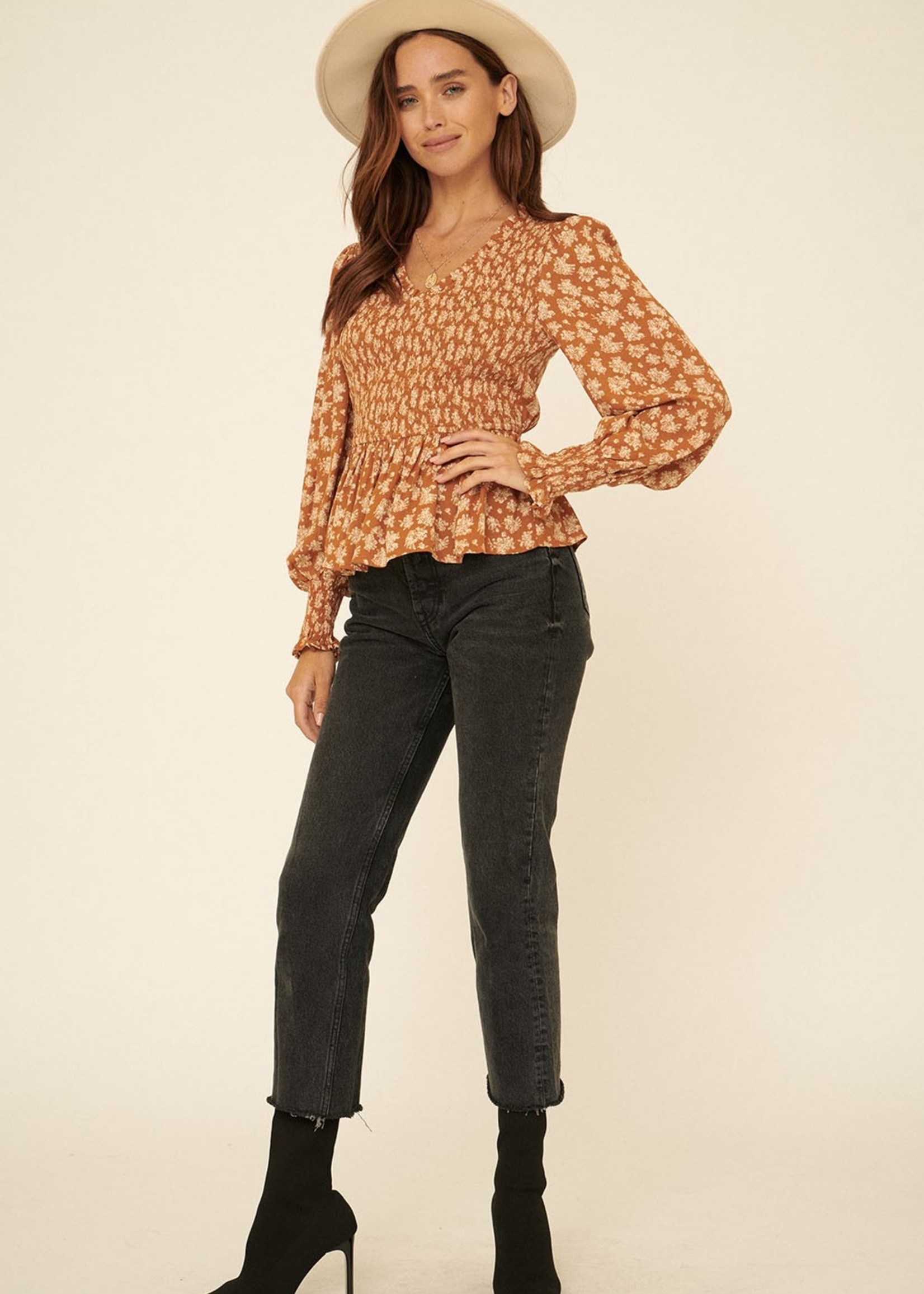Smocked Top with Ruffle Button - Rust Print
