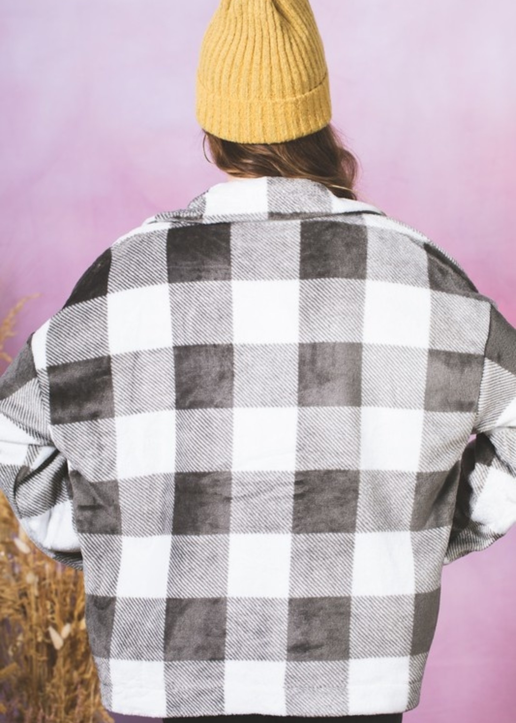 Fuzzy Snap Up Shirt Jacket - Grey Plaid