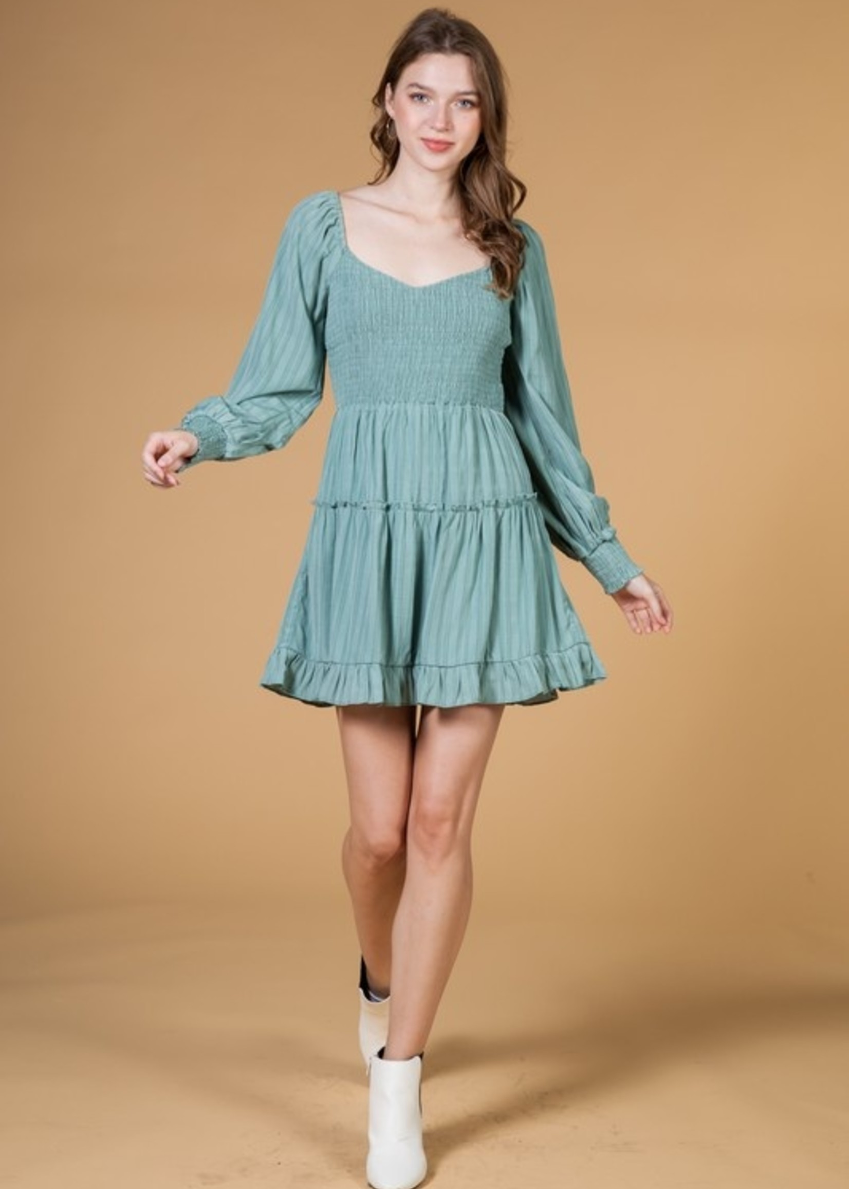 Smocked and Ruffle Dress - Sage