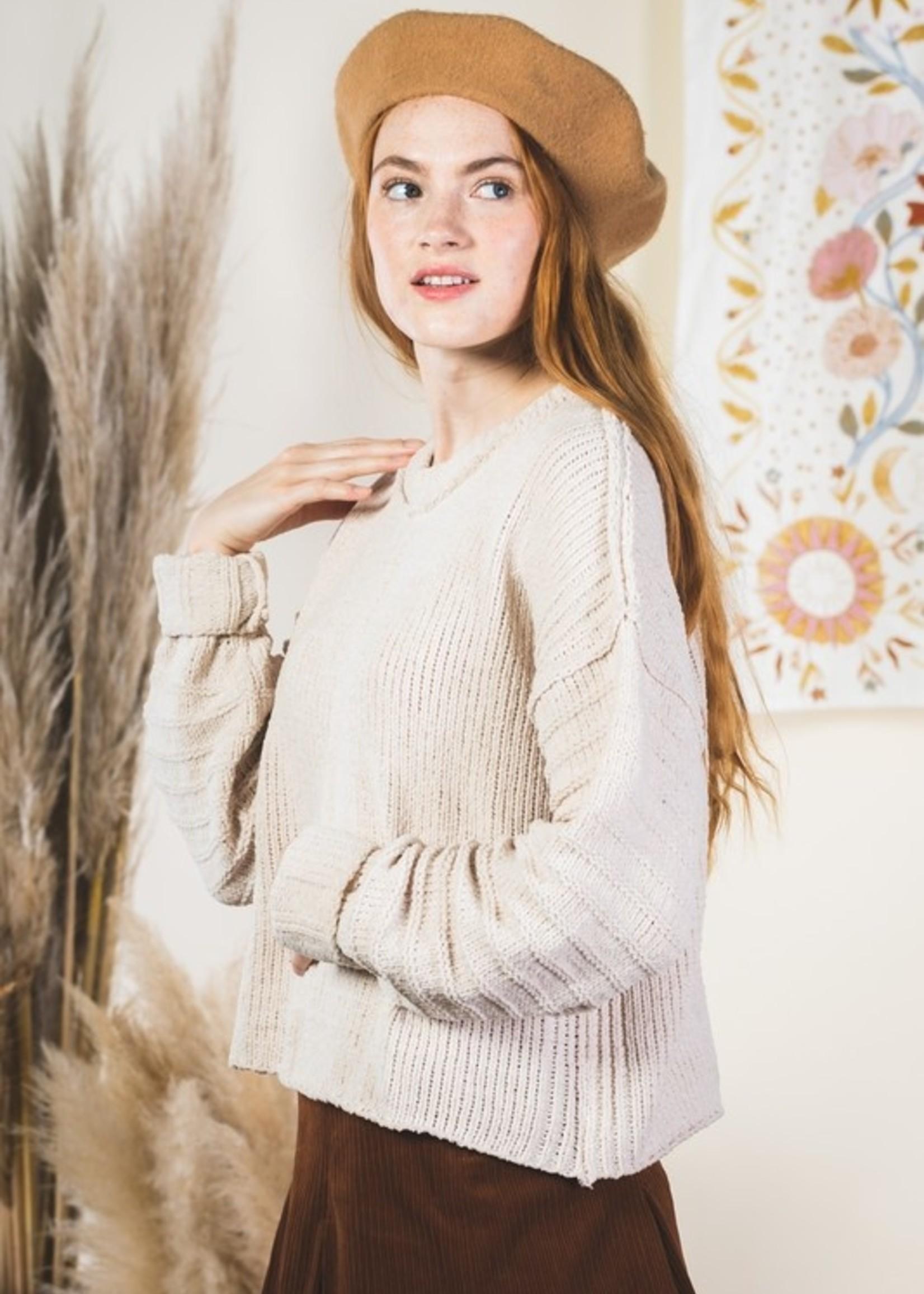 Textured Chenille Sweater - Cream