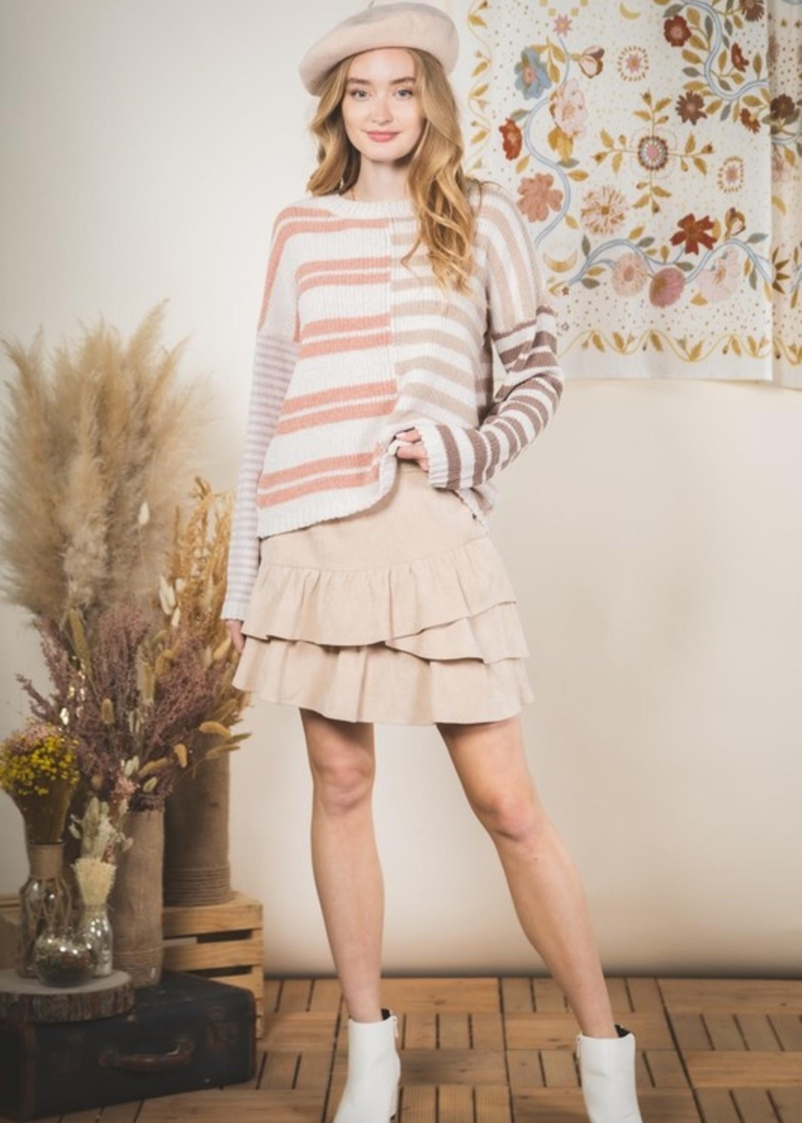 Stripe Chenille Sweater - Cream