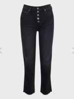 7 for All Mankind Highwaist Crop Straight Exposed Buttons - Ashbury