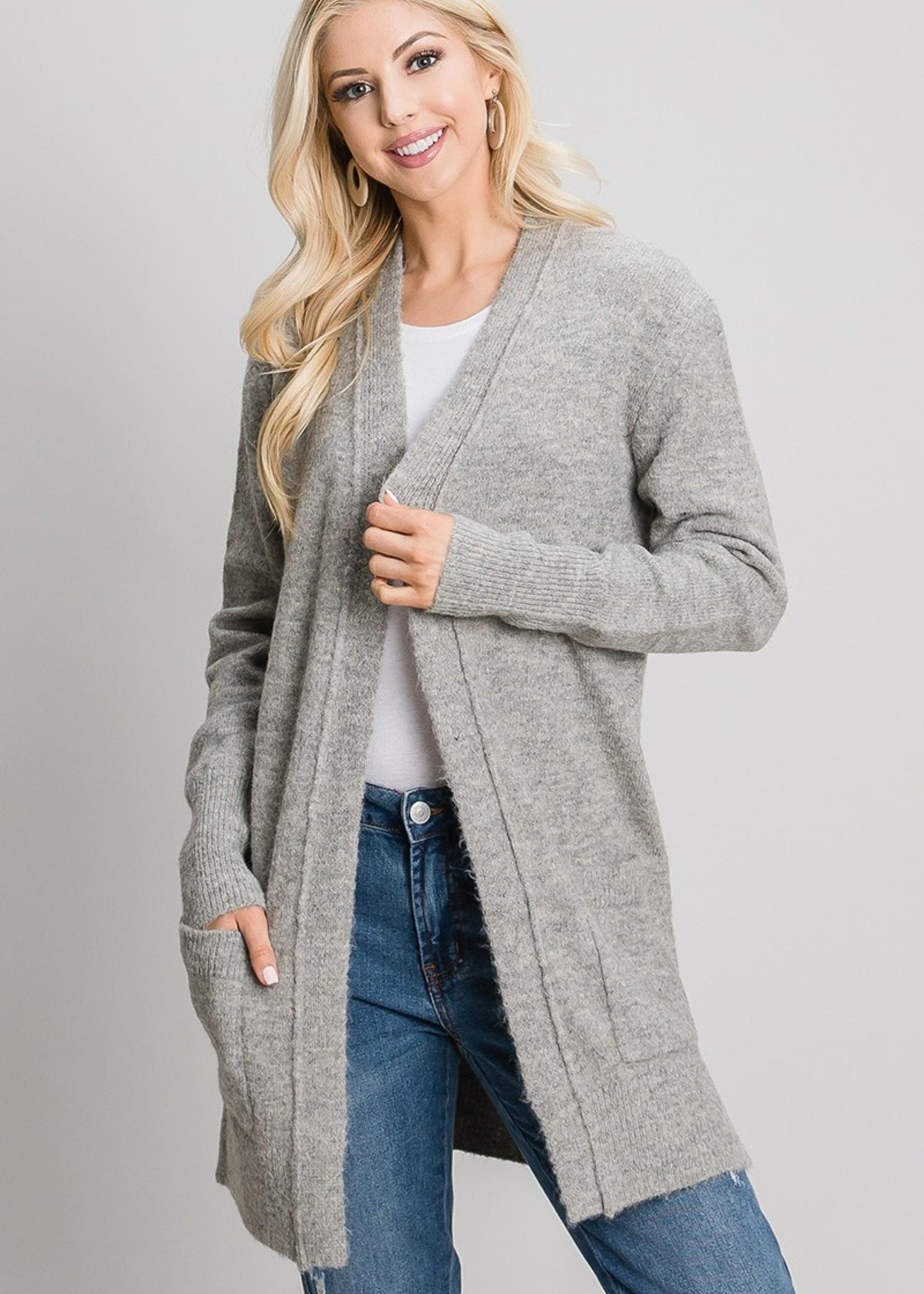 Sweater Cardigan - Heather Grey