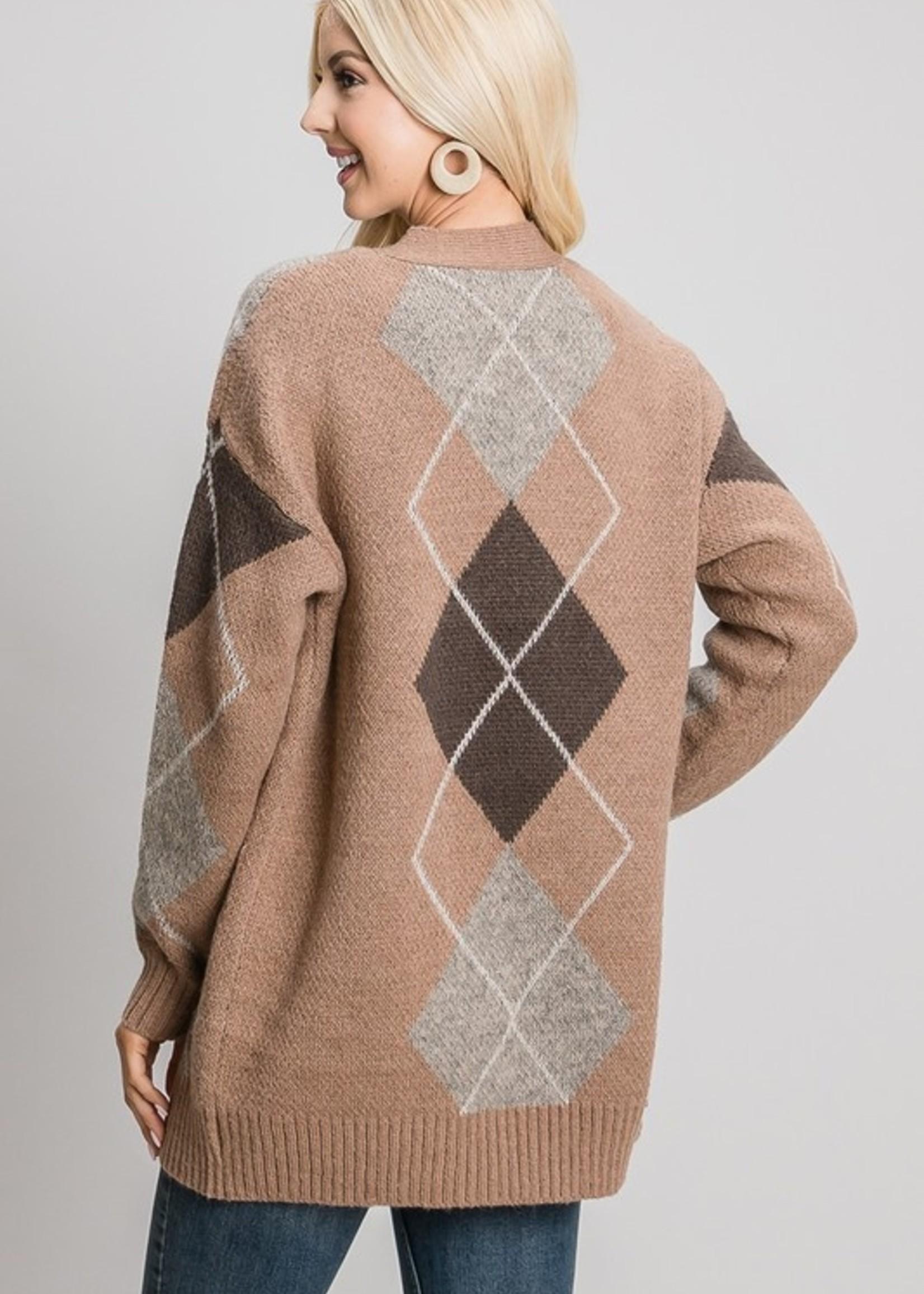 Argyle Sweater Cardigan - Taupe