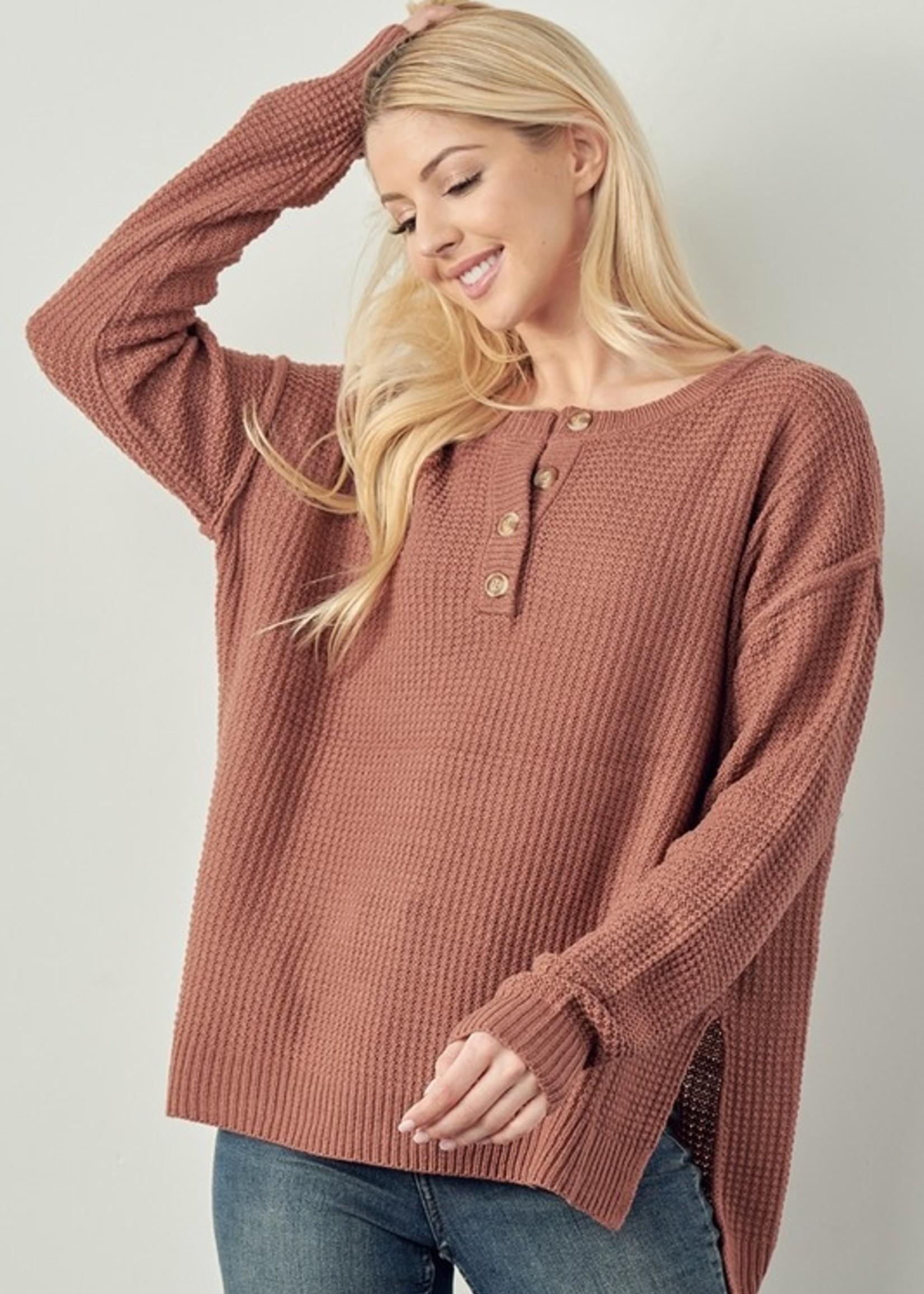 Waffle Henley Sweater - Poppy
