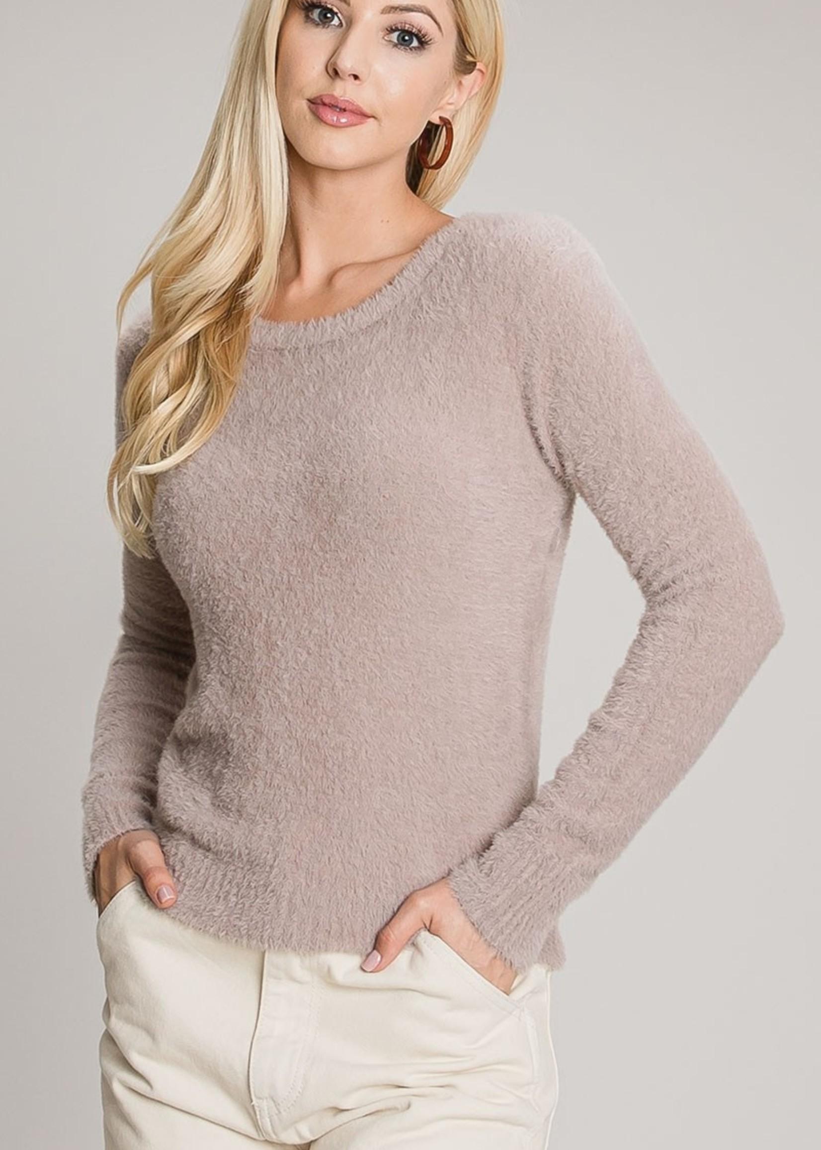 Fuzzy Soft Crewneck Sweater - Dusty Mauve