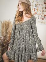 Dot Print Ruffle Sleeve Babydoll Dress