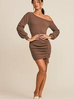 One Shoulder Drawstring Dress - Brown