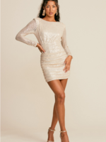 Open Back Sequin Mini Dress - Cream