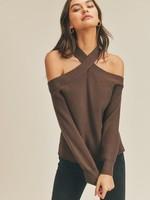 Off Shoulder Sweater - Brown