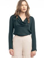 Cowl Neck Long Sleeve Top - Deep Forest
