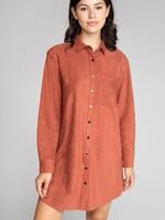 Faux Suede Button up Shirt Dress - Marsala