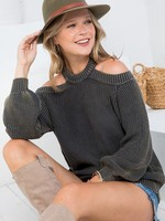 Washed off Shoulder Sweater - Stone Grey