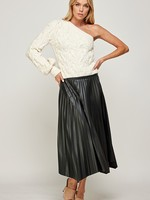 One Shoulder Cable Sweater - Off white