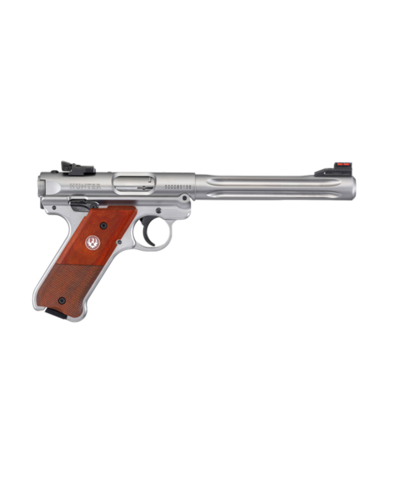 "Ruger RUGER MARK IV HUNTER, #40118, .22LR, 6.8"" FLUTED BULL BBL, STAINLESS, SYN GRIPS, FIBER OPTIC FRONT AND ADJ REAR SIGHT"