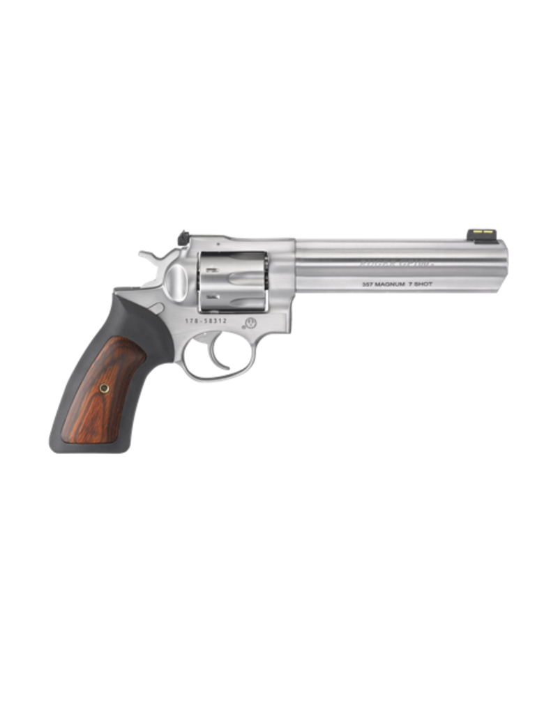"""Ruger RUGER KGP-1617, GP100, #01773, .357MAG, 6"""", 7 SHOT, S/S, BLACK RUBBER AND WOOD GRIPS, ADJ REAR SIGHT, FIBER OPTIC FRONT SIGHT"""
