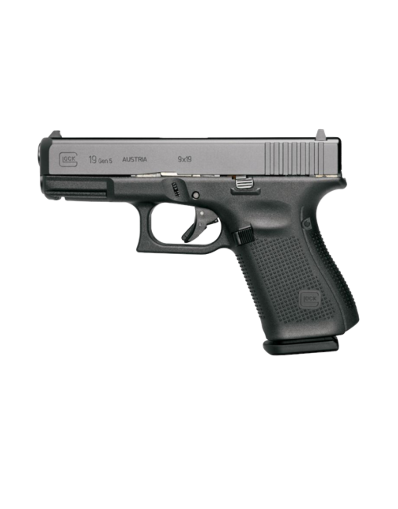 "Glock GLOCK 19 GEN 5, #PA1950302AB, 9MM, 4"", 3 MAGS, AMERIGLO BOLD NIGHT SIGHTS"