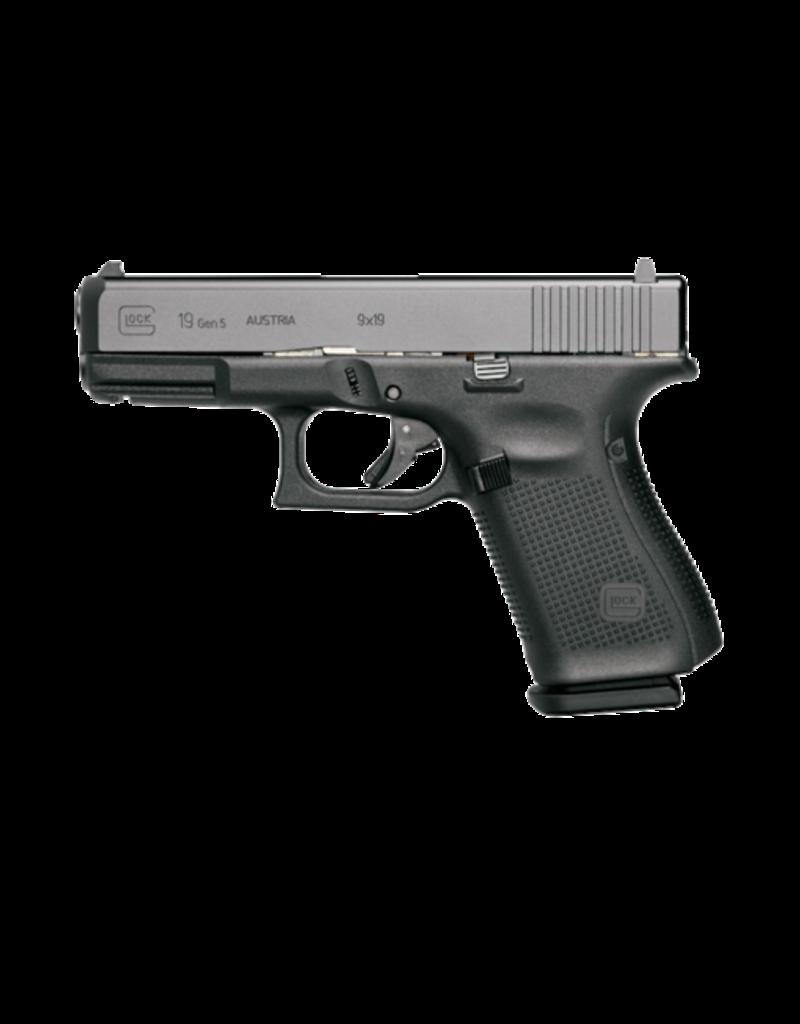 "Glock GLOCK 19 GEN 5, #PA1950302AB, 9MM, 4"", 3 MAGS,  FRONT SERRATIONS, AMERIGLO BOLD NIGHT SIGHTS"