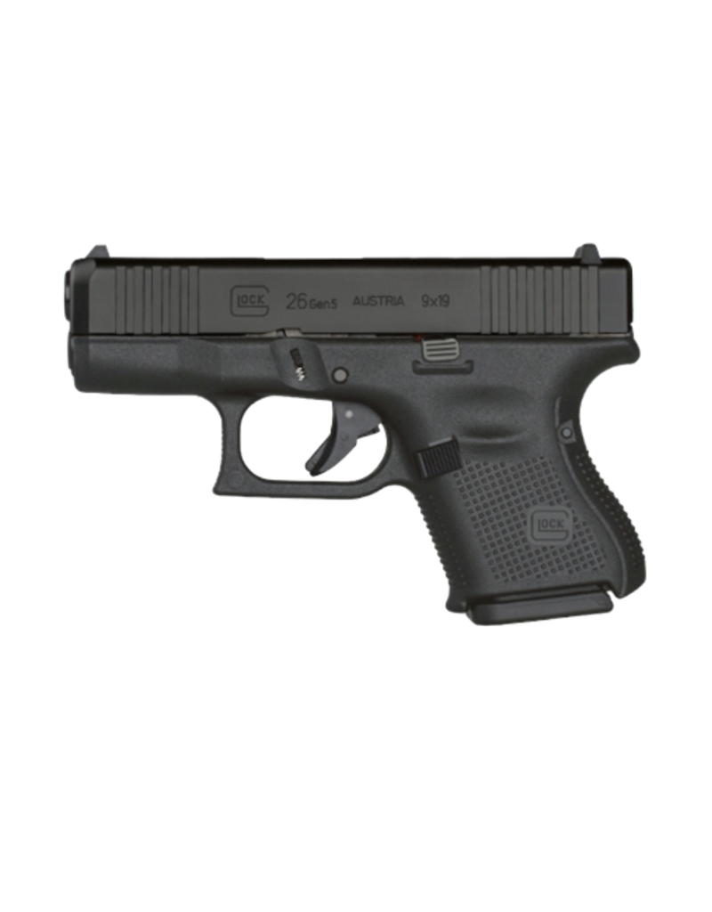 "Glock GLOCK 26 GEN 5, #UA265S702, GLOCK NIGHT SIGHTS, FRONT SERRATIONS, 9MM, 3.5"",3 MAGS"