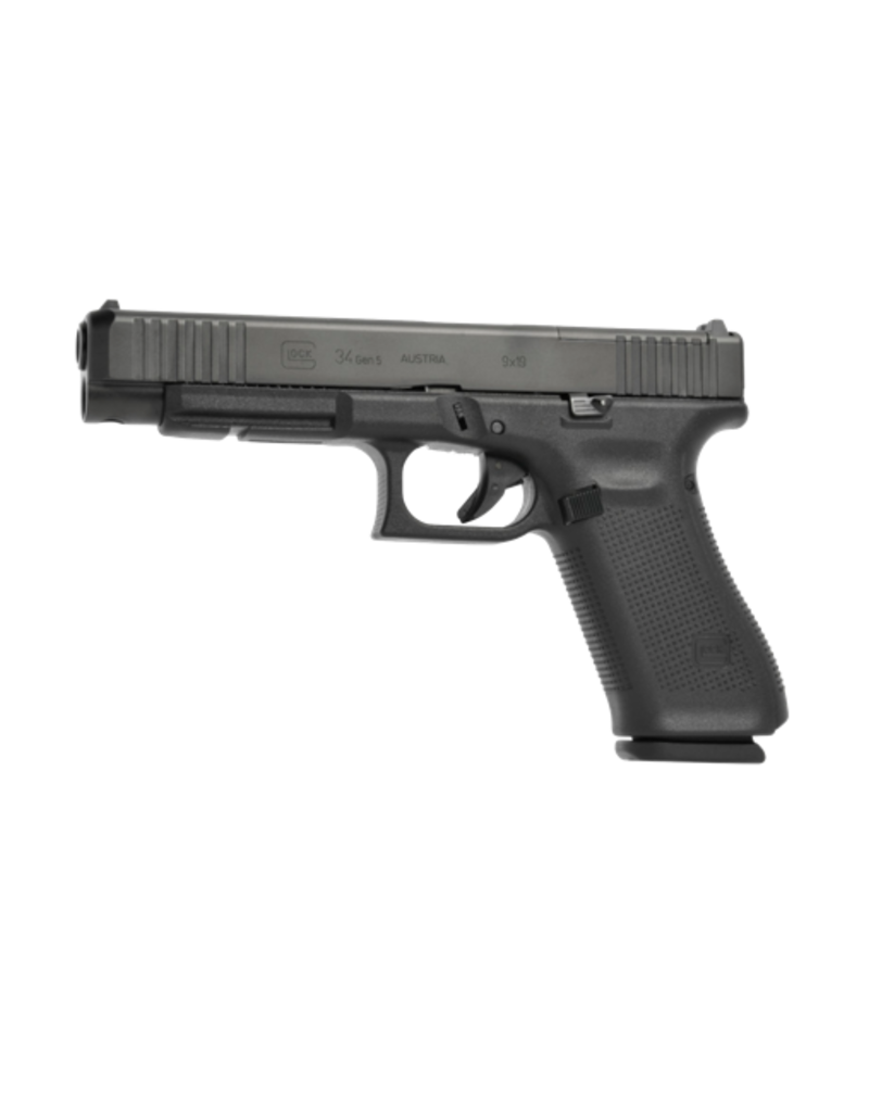 "Glock GLOCK 34 GEN 5 M.O.S., #PA345S202MOS, 9MM, 5.3"", 3 MAGS, FRONT SERRATIONS, FIXED SIGHTS, 5.5LB"