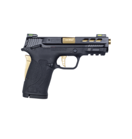 Smith & Wesson SMITH & WESSON M&P380 PORTED PERFORMANCE CENTER SHIELD EZ, #12719, 380ACP, THUMB SAFETY, FIBER OPTIC SIGHT, GOLD BARREL