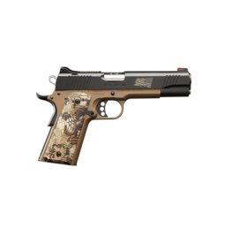 Kimber KIMBER HERO CUSTOM, #32383, .45ACP, 5in., FIBER OPTIC SIGHTS, KRYPTEK HIGHLANDER GRIPS, DESERT TAN FRAME, BLACK SLIDE