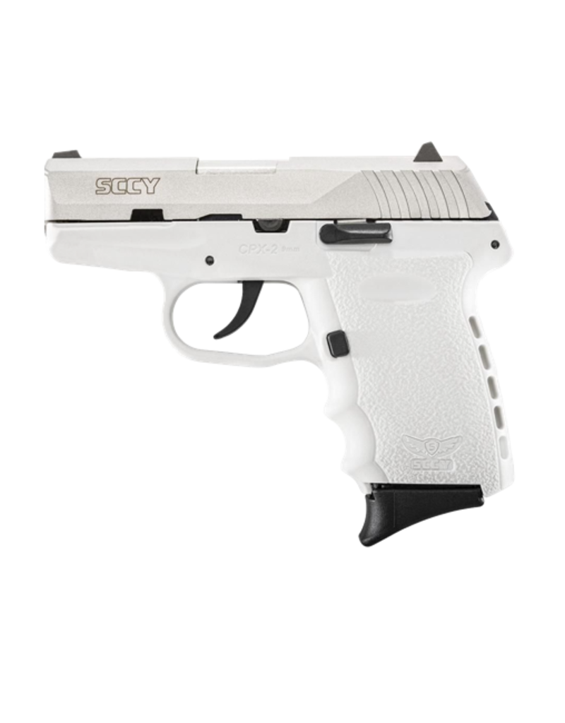 SCCY SCCY INDUSTRIES CPX-2, #CPX-2TTWT, 9MM, DOUBLE ACTION ONLY, STAINLESS, WHITE POLY FRAME