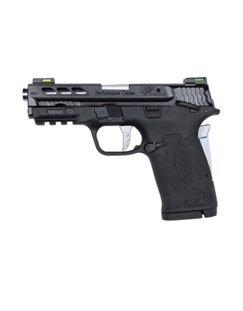 Smith & Wesson SMITH & WESSON M&P380 PORTED PERFORMANCE CENTER SHIELD EZ, #12718, 380ACP, THUMB SAFETY, FIBER OPTIC SIGHT, SILVER BARREL