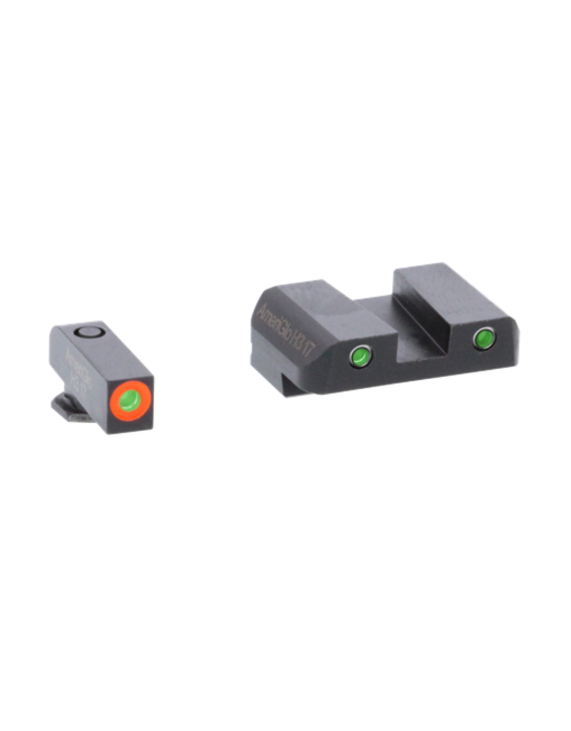 AMERIGLO SPARTAN OPERATOR NIGHT SIGHT SET, #47284, GLOCK 42 / 43, ORANGE FRONT, GREEN REAR