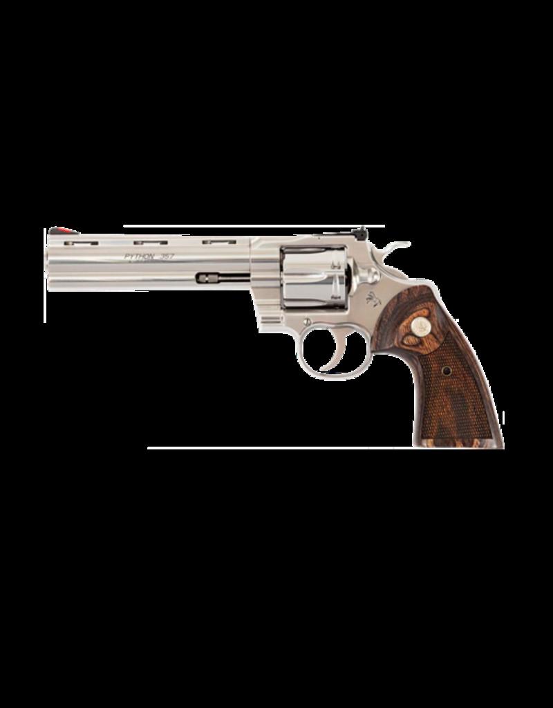 Colt COLT PYTHON, #PYTHONSP6WTS, .357 MAGNUM, 6IN BARREL, STAINLESS, WOOD GRIPS
