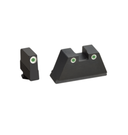 AMERIGLO SUPPRESSOR HEIGHT NIGHT SIGHTS, GLOCK, #GL-349, 3XL, 3 DOT GREEN TRITIUM, WHITE OUTLINE FRONT AND GREEN TRITIUM, WHITE OUTLINE REAR