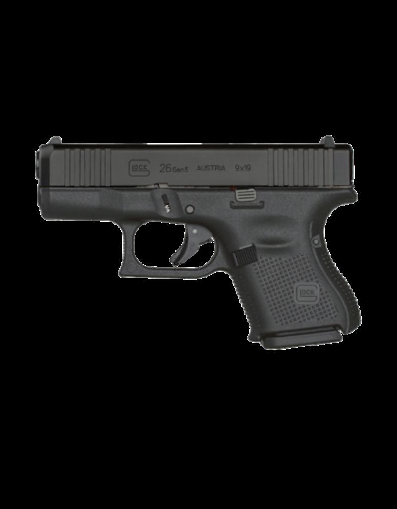 "Glock GLOCK 26 GEN 5, #UA265S202, FRONT SERRATIONS, 9MM, 3.5"", 3 MAGS"