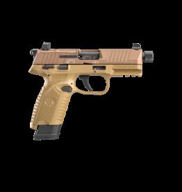 FNH FN 502T, 66-101006, 22LR, 1-10/1-15RD MAG, OPTIC READY, THREADED BARREL, FDE
