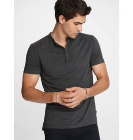 JOHN VARVATOS JOHN VARVATOS Short Sleeve Burnout Henley - Charcoal