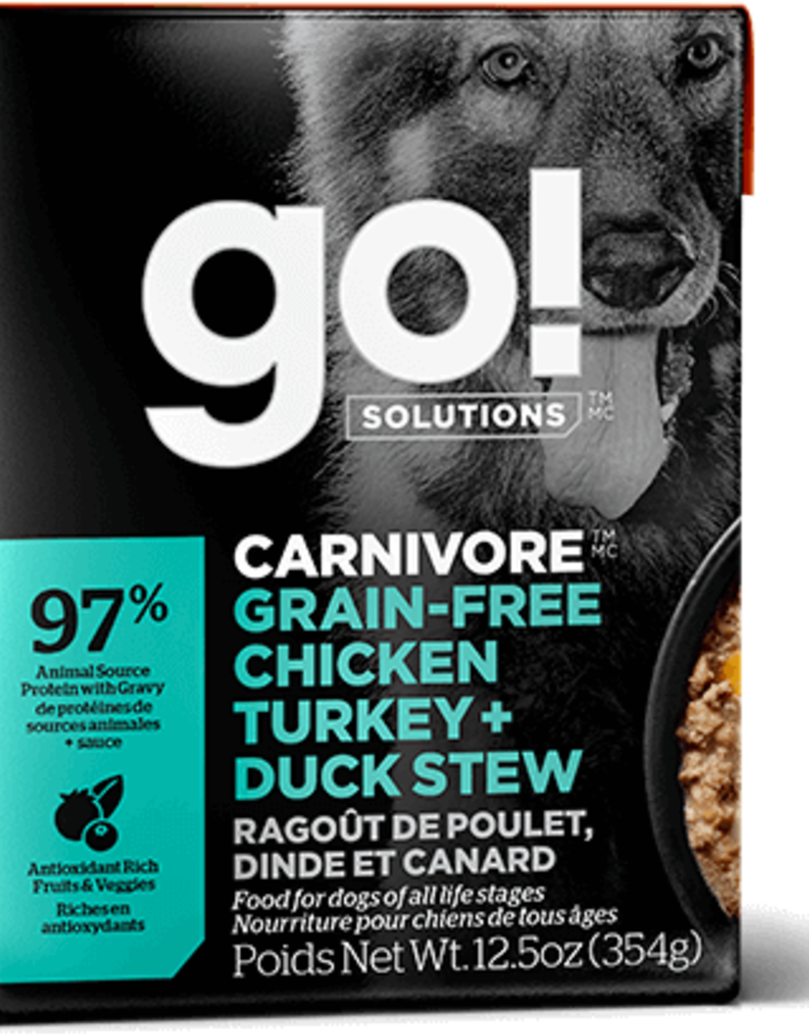 Petcurean GO Carnivore GF Chicken Turkey Duck Stew Dog 12.5oz