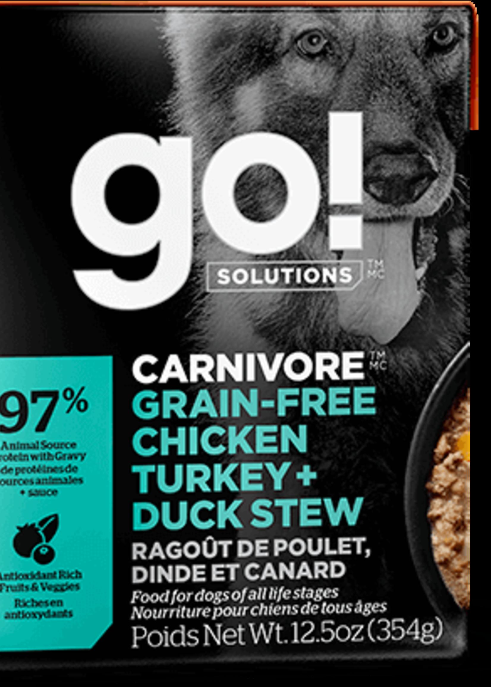 Petcurean GO Carnivore GF Chicken Turkey Duck Stew Dog 12.5oz