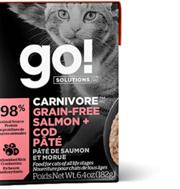 Petcurean GO Carnivore Grain Free Salmon Cod Pate Cat 6.4oz