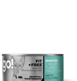 Petcurean Go Fit+Free Cat Grain Free Chick Turkey Trout Stew Can 5.5oz